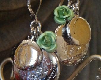 Love Like Lockets Earring Jade/Silver Locket Earrings