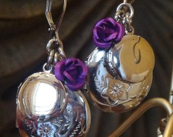 Love Like Lockets Earring Purple/Sliver Locket Earrings