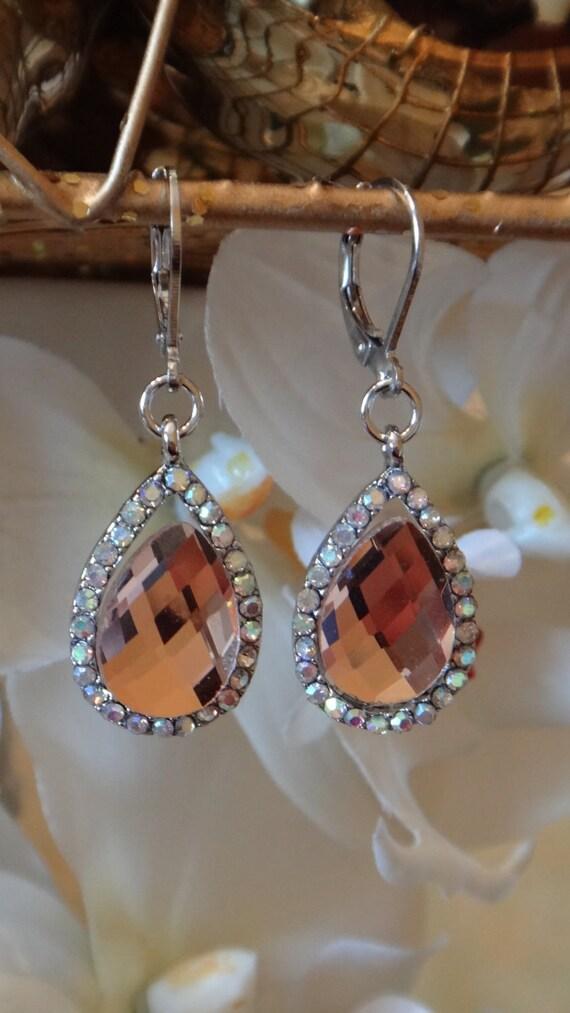 Enchanted Gems Bridal Swarovski Crystal Dangle Earrings, Wedding Jewelry, Chadelier Earrings, Bridal Earrings
