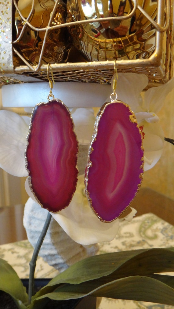 Flamingo Pink-Magenta Agate Slice Earrings, Agate Earrings, Agate Druzy Earrings, Agate Geode Earrings, Geode Earrings, Stone Earrings