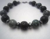 Bracelet Unisex Jade and Lava Rock