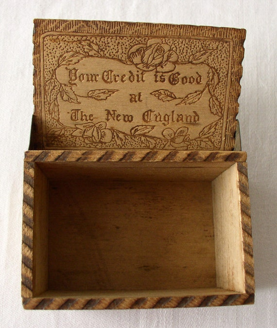 Vintage Pyrography - Plymouth Colony New England - Wood-Burning Box