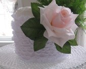 White Three Wick Lace Wrapped  Rose  Embellished Permanent Bodied Candle