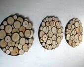 Rustic Wood Slice Wall Sculpture -  8 Inch Circles - Set of Three