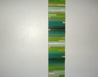 Modern Art Wood Wall Art  SculpturePainting Green Texture Abstract Stripes 8x42 - Made To Order