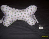 Easter Egg Printed Dog Bone Shaped Neck Pillow with handles purple and green