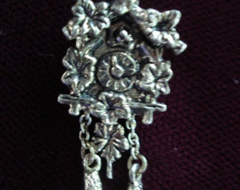 Rare Sterling Silver Charm - Cuckoo Clock - Mechanical - Movable Parts