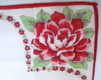 FABULOUS VINTAGE HANKIE Vintage Floral Handkerchief Hankie Ruby Red Roses