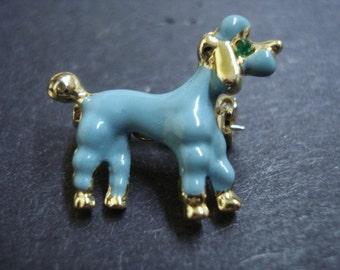 Marvelous Vintage Brooch Elegant Blue Poodle Dog Figural Enamel Finish on Metal