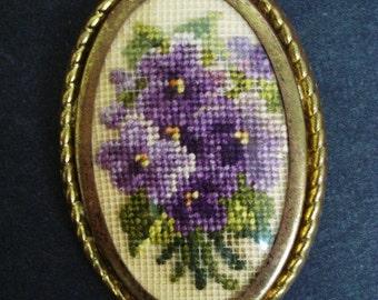 Wonderful  Vintage PETIT POINT BROOCH  Romantic - Purple Violets - Floral Design - Framed - Oval Style