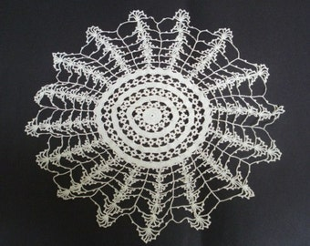 Fabulous  Antique Large Lace Doily Hand Crochet White Lace