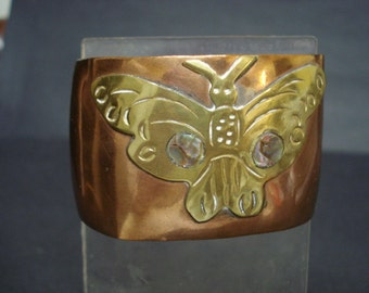 Exquisite Vintage Cuff Bracelet Copper Abalone Shell Brass Butterfly Signed Mexico