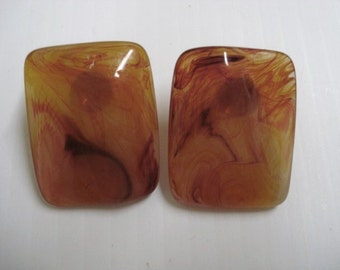 FANTASTIC  VINTAGE EARRINGS - Amber Color with Inclussions