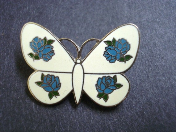 SPECTACULAR Vintage  Brooch Butterfly Enamel Cloisonne Finish by Dolphine Designs