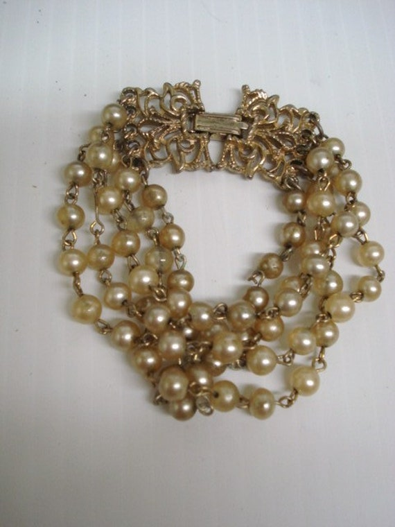Antique Bracelet - 5 Strand - Gold Tone - Ornate - Fashion Jewelry Pearls