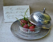 French vintage silverplate and glass serving set- THREE piece