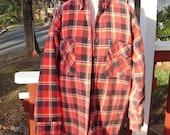 Grunge Shirt - Vintage Klondike Red Plaid Flannel Shirt - Made in USA Punk Goth Retro Country Folksy Woodsy