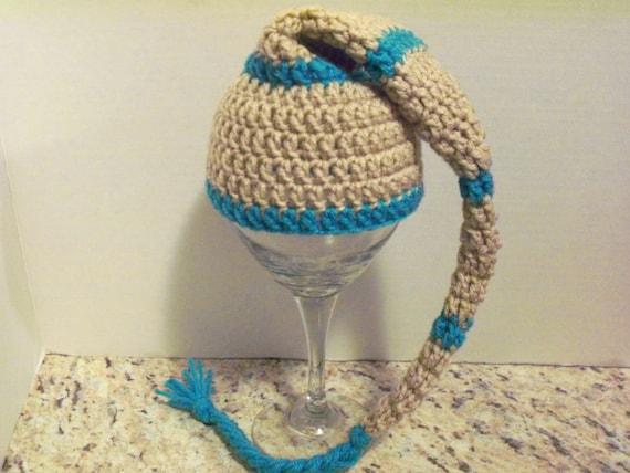 Elf hat, newborn. Aqua/blue and tan.  Photo prop