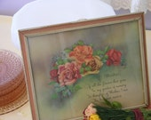 Vintage Mother  Poem Print Surrounded by Sweet Roses in A Shabby Frame