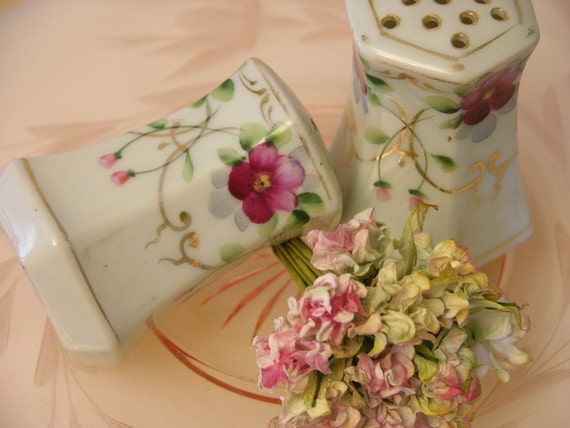 Sweet Floral Vintage Japanese Hand Painted Salt and Pepper Shakers