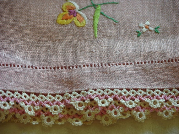Blush Peach Vintage Linen Tea Towel with Embroidery Flowers and Tatted Lace Border