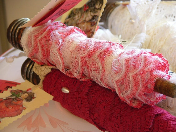Three Yards of Red and White Varriegated Ruffle Lace Trim