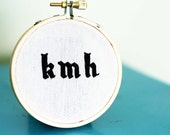 Gothic lowercase monogram - 3 inch embroidery hoop