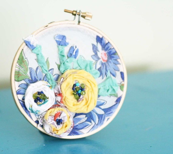 Vintage floral home decor embroidery hoop
