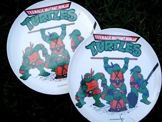 set of 2 Mutant Teenage Ninja Turtle 1989 small dinner plates