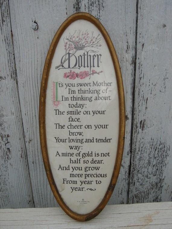 vintage cottage oval framed mother poem sentiment