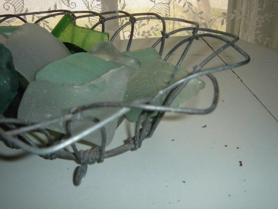 vintage industrial shallow galvanized wire basket