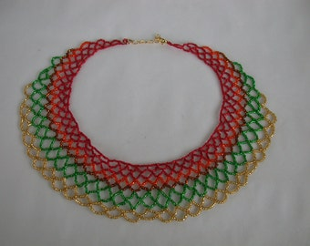 Beaded collar in Autumn Colors