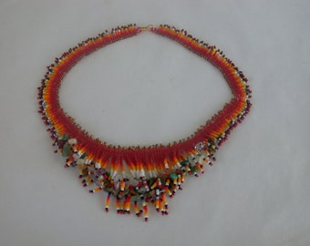Fringy Collar in Reds and Oranges