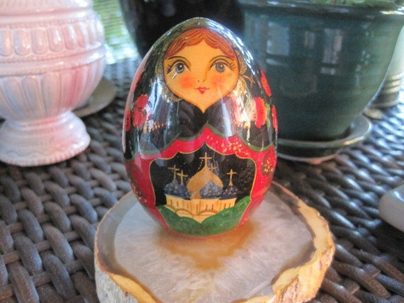 RESERVED        FREE SHIPPING Hand painted Russian wood egg
