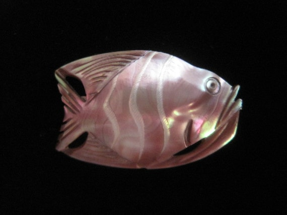 Super cool carved abalone fishy pin