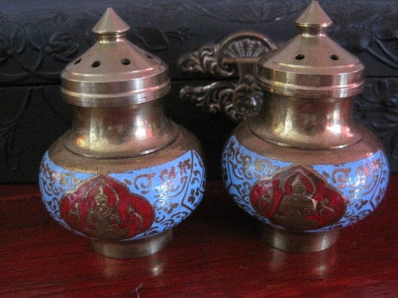 Charming brass and enamel salt and pepper shakers