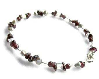 Garnet Bracelet, Plus Size Bracelet, January Birthstone Bracelet, Garnet Strand Bracelet, Gifts Under 35