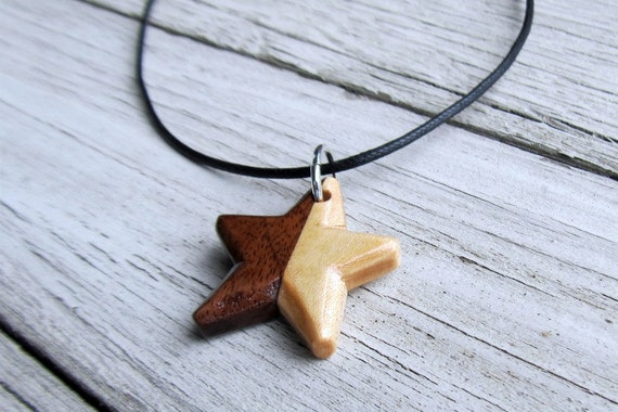 Wooden Star Necklace - Walnut and Maple Hand Crafted Star
