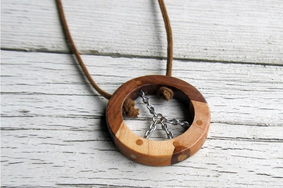 Wooden Peace Sign Necklace - Handcrafted Walnut & Maple