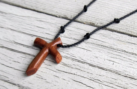 Mens Cross Pendant - Red Oak - Wooden Jewelry