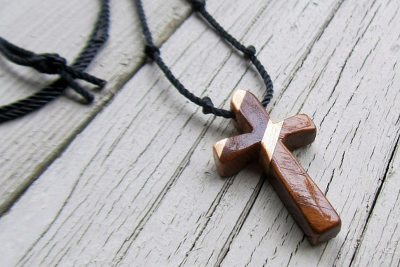 Mens Cross Pendant - Walnut & Maple - Necklaces for Men