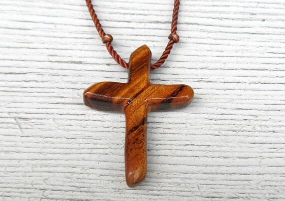 Wood Cross Pendant - Brazilian Tigerwood - Jewelry for Men