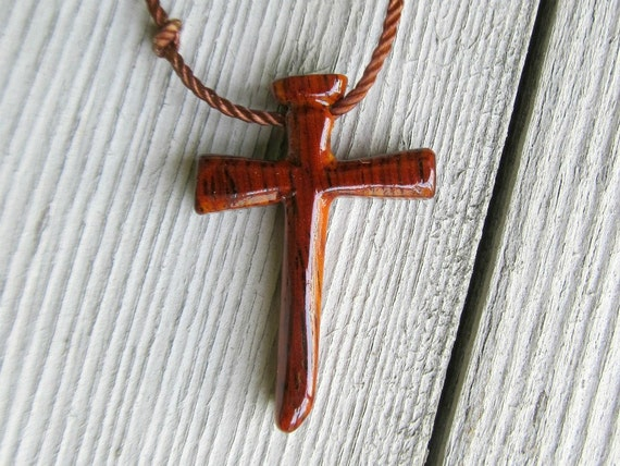 Mens Cross Necklace - Mexican Cocobolo - Reclaimed Wood