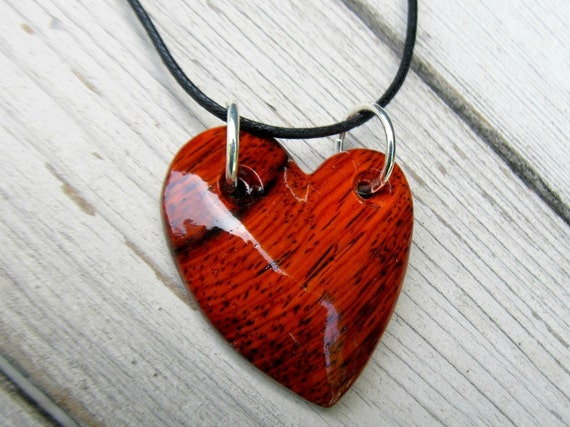 Wood Heart Necklace - Mexican Cocobolo - Womens Jewelry