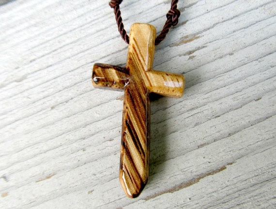 Wood Cross Necklace - African Zebrawood - Necklaces for Men