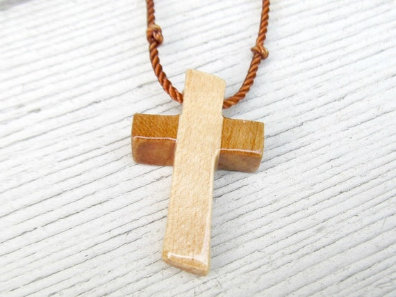 Wooden Cross Necklace - Cherry and Maple Hardwoods - Mens Jewelry