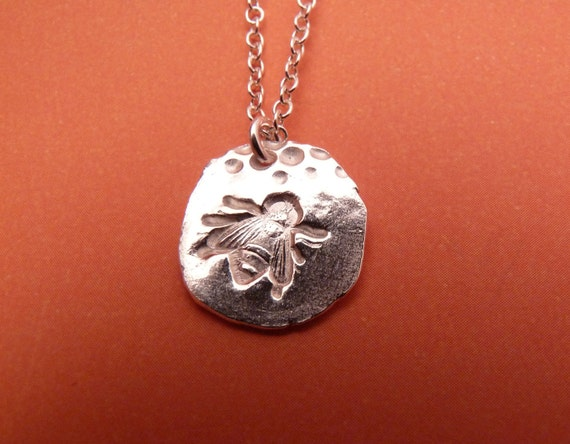 Silver Bee Necklace --  Bee with Frayed Edge in Fine Silver