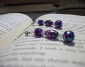 Free Shipping thru December 15th - Purple and Blue Bead and Clear Swarovski Crystal Multi-Tone Dangle Earrings