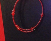 Red Mini Glass Bead and Crystal Memory Wire Bracelet