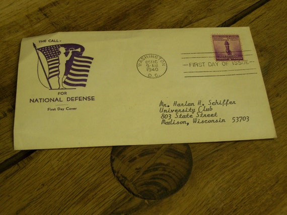 """1940 First Day Cover envelope with stamp and cachet.  Stamp collecting. Purple bugle boy """"The call for National Defense""""  First Day issue."""